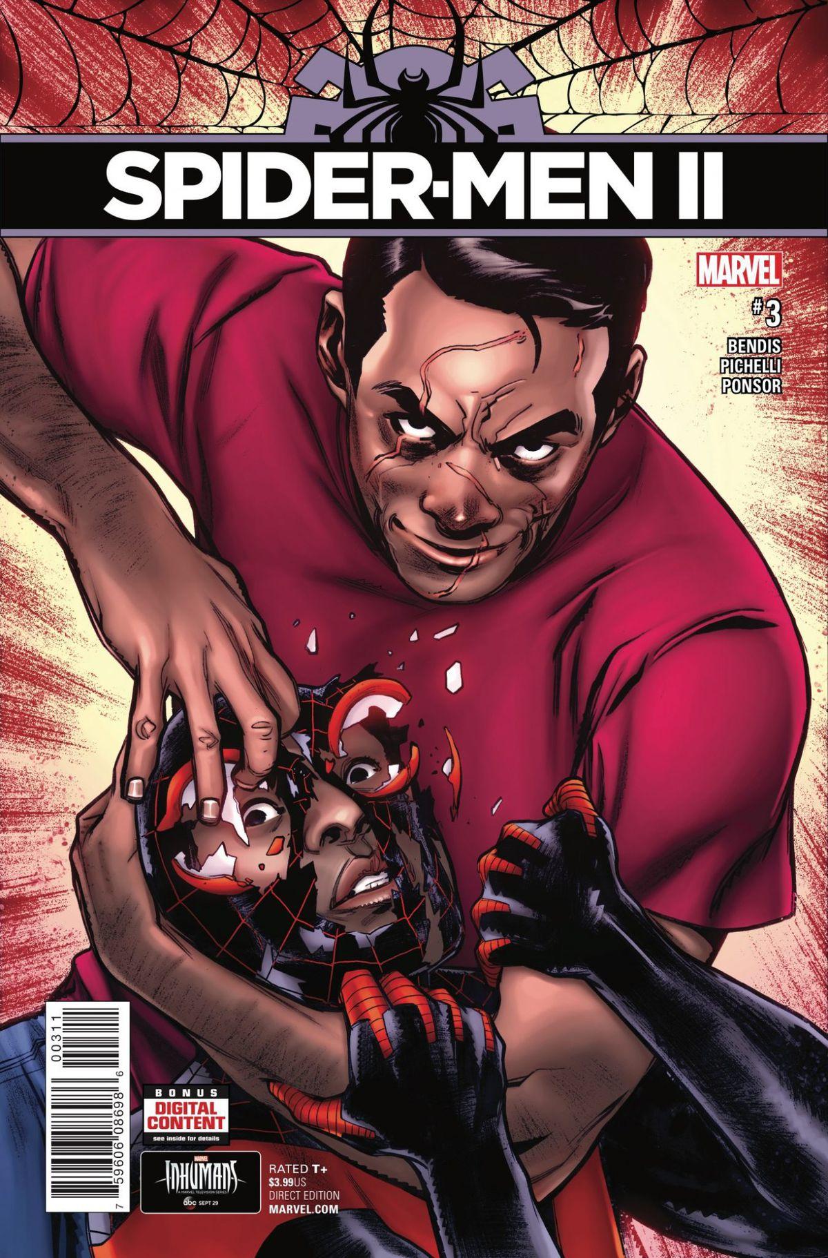 The cover of Spider-Men II #3, Marvel Comics (2017).