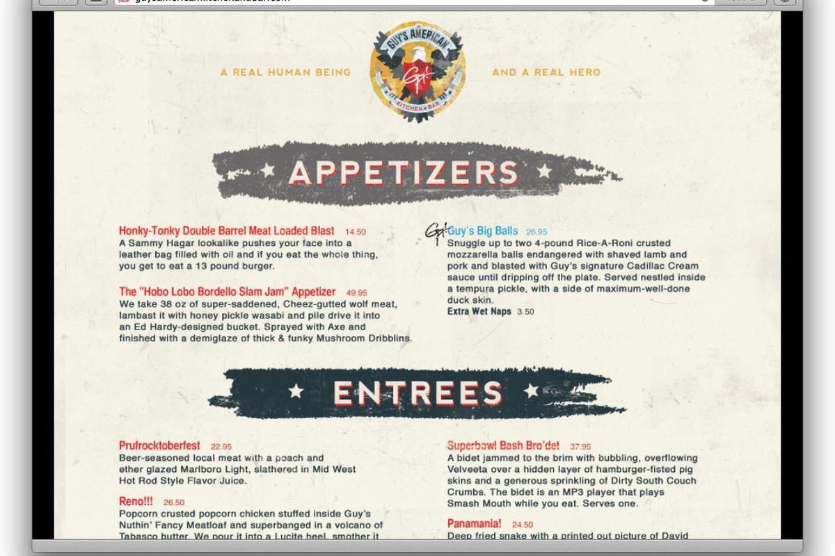 Website Of The Day Guy S American Kitchen Bar Parody Eater