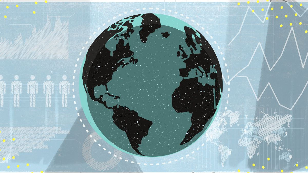An illustration of the Earth with human figures on one side and graph lines on the other.