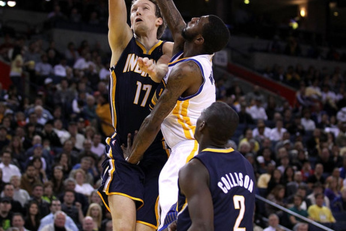 Much like this shot at the rim, the Pacers were denied a road win at Golden State on Wednesday night.