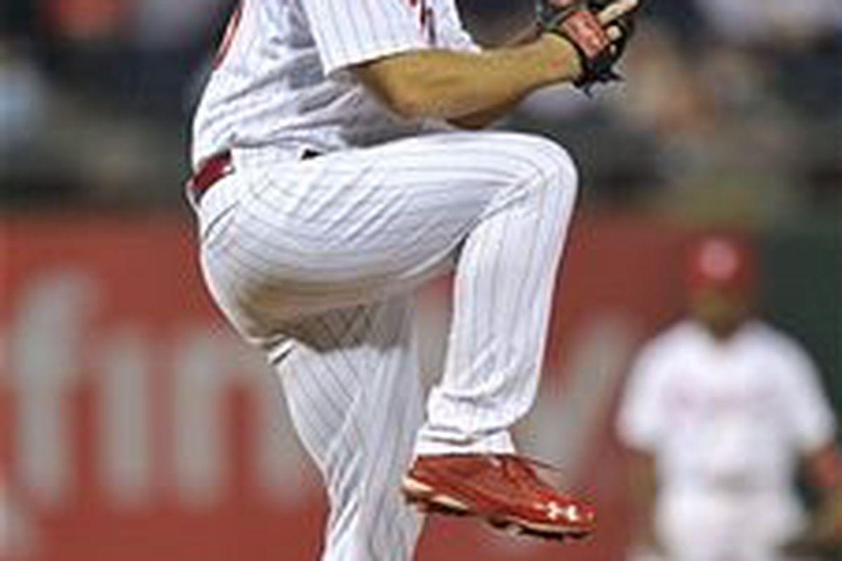 Philadelphia Phillies pitcher Joe Savery (Photo by Drew Hallowell, Getty Images)