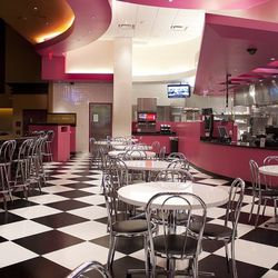 The dining room at Pink's Hot Dogs.