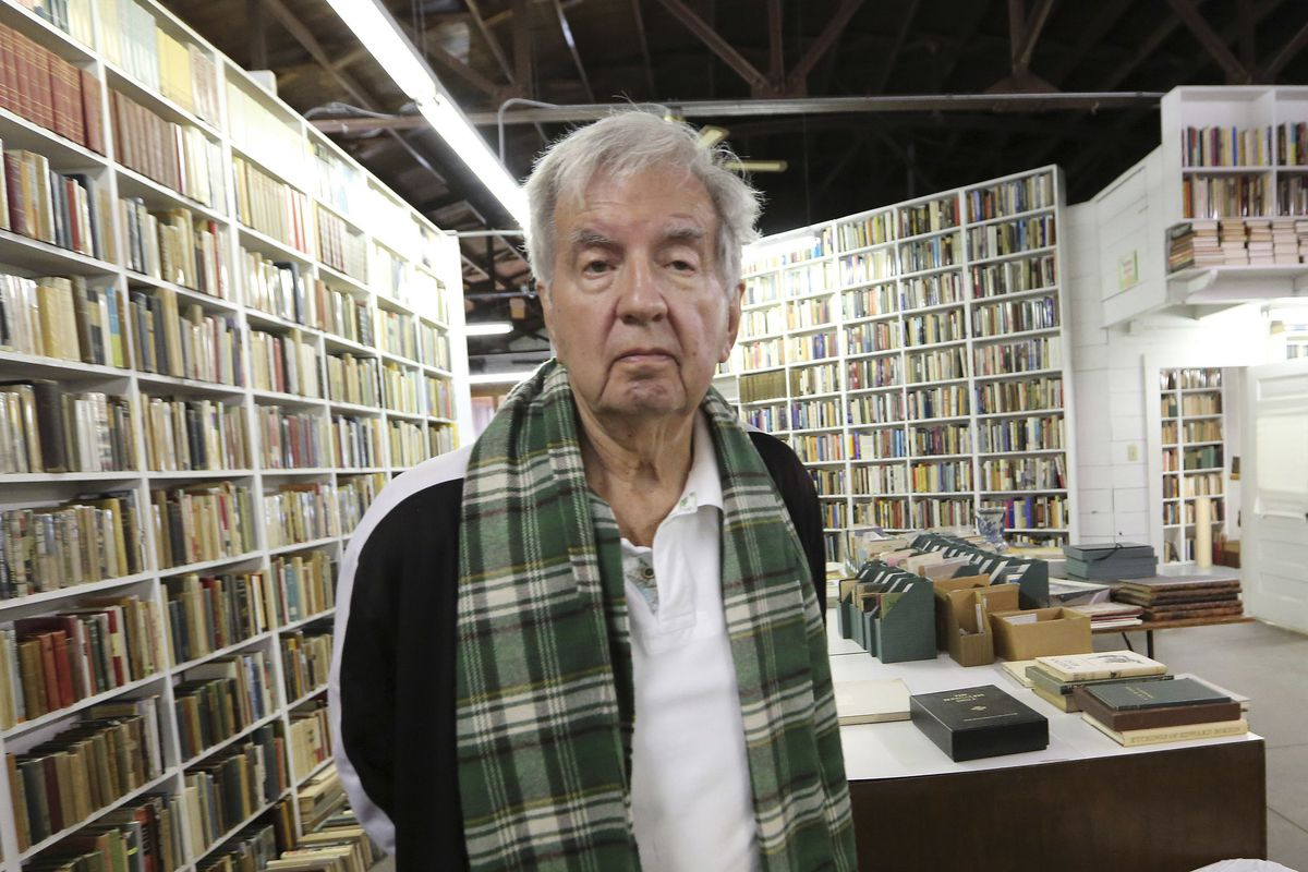 In this 2014, file photo, Pulitzer Prize-winning author Larry McMurtry poses at his book store in Archer City, Texas.