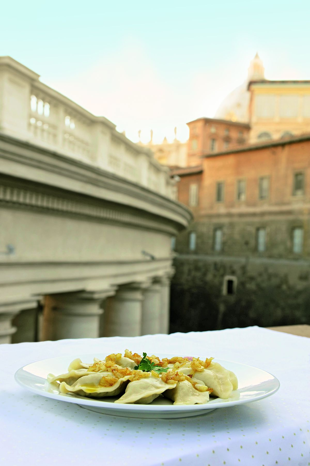 """The pierogi as served to Pope John Paul II, featured in """"The Vatican Cookbook."""" 