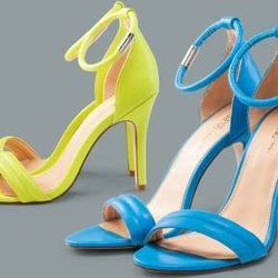 Ankle-strap pumps in Blazing yellow and Dresden blue, $39.99 each