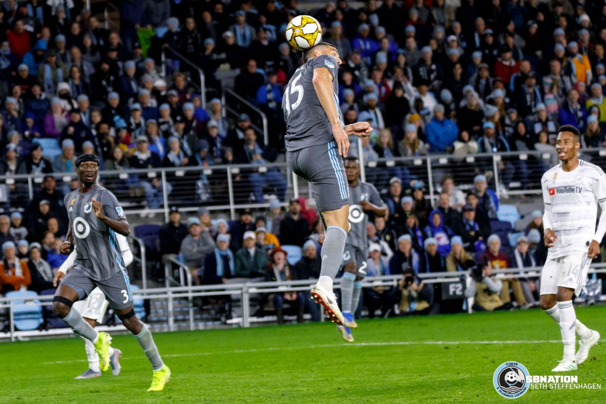 September 29, 2019 - Saint Paul, Minnesota, United States - Minnesota United defender Michael Boxall (15) scores a goal off a header during a match against LAFC at Allianz Field.