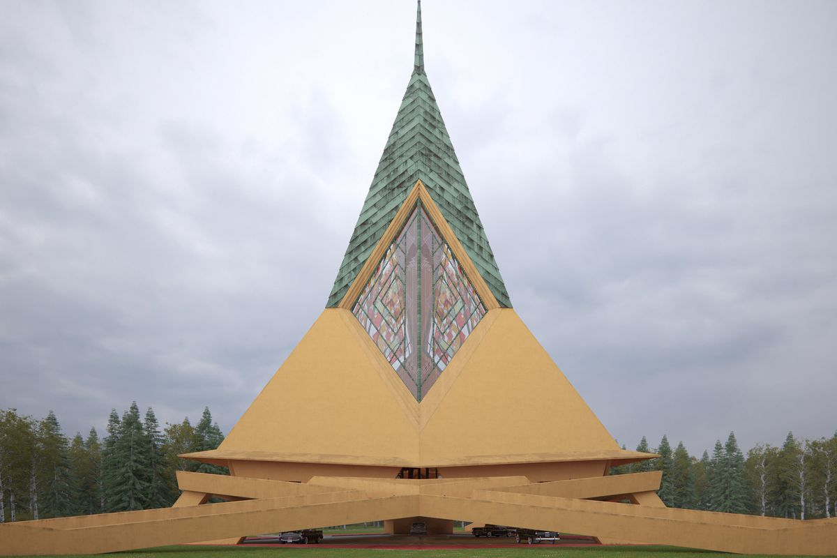 Realistic rendering of an orangey-tan triangular chapel with green shingled spire and diamond-shaped stained glass window and ramps leading to the entrance. It is elevated above the ground to accommodate parking space underneath.