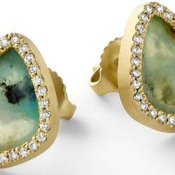 "<span class=""credit""><b>Bijou Collection</b> Opal slice stud earrings with white diamond pavé, <a href=""http://moniquepean.com/shop-1/earrings/ecd517y.html"">$6,260</a></span><p>"