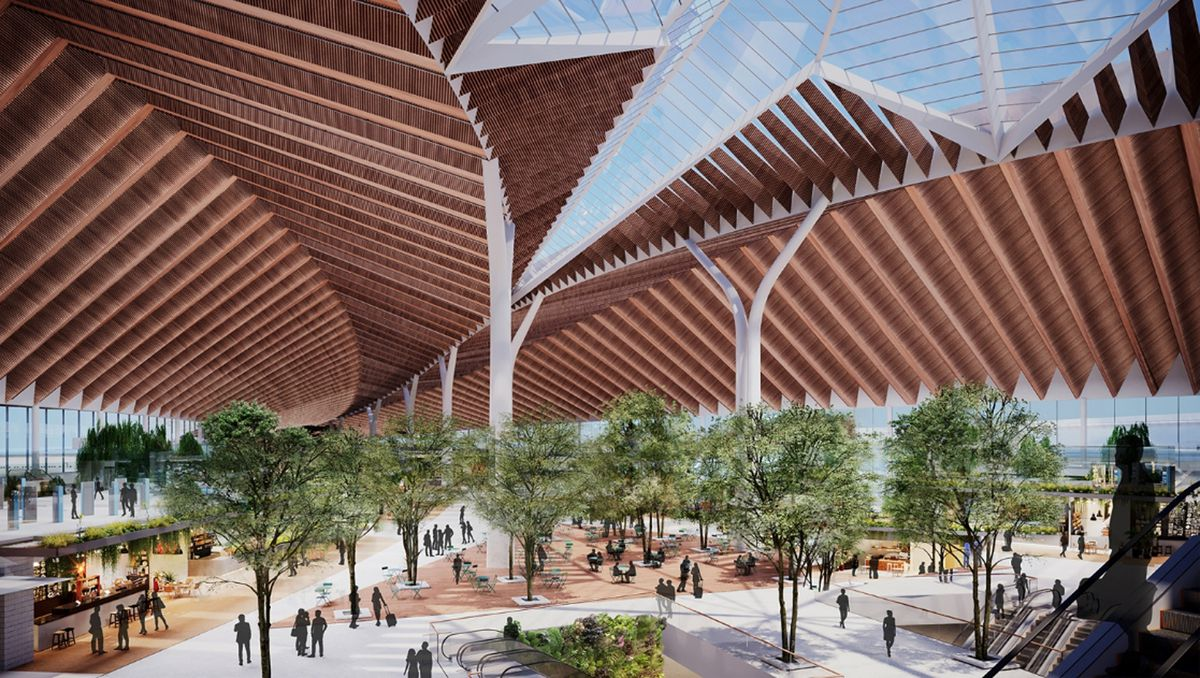 """Rendering of new """"global terminal""""to be built at O'Hare International Airport."""