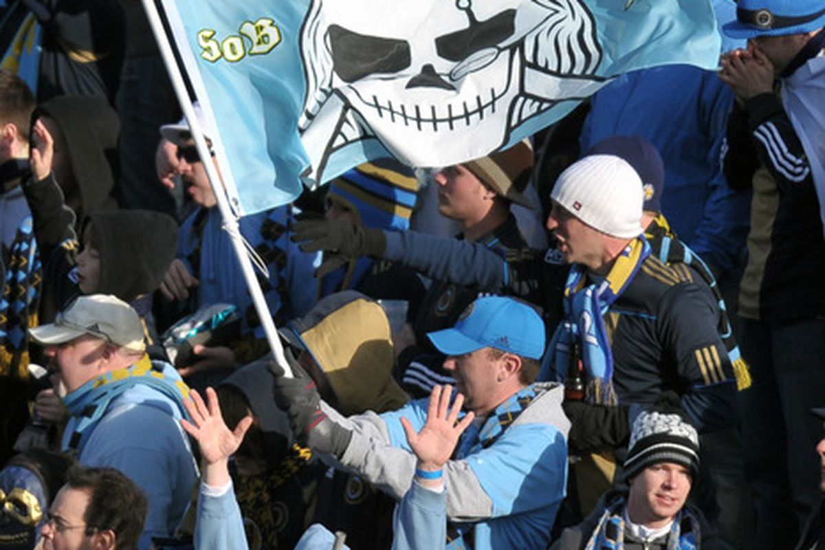 CHESTER, PA- MARCH 26: Philadelphia Union fans cheer during the game against the Vancouver Whitecaps at PPL Park on March 26, 2011 in Chester, Pennsylvania. The Union won 1-0. (Photo by Drew Hallowell/Getty Images)