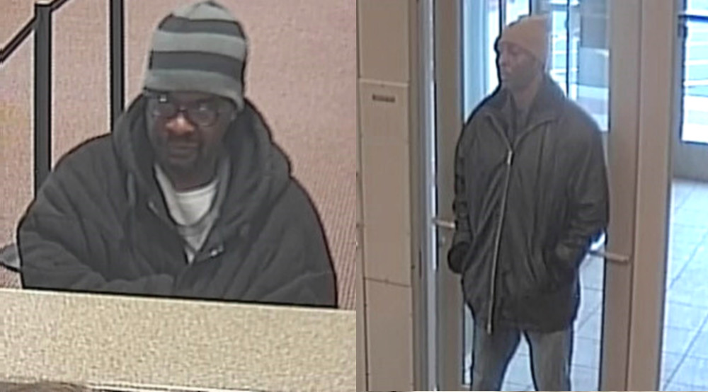 Surveillance images of the suspects in a robbery March 27 at a Fifth Third Bank branch at 2440 Main St. in Evanston. | FBI