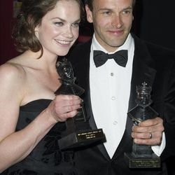 British actress, Ruth Wilson and British actor, Jonny Lee Miller pose with their awards for Best Actress and Actor at the Olivier Awards at the Royal Opera House, London,  Sunday, April 15, 2012.