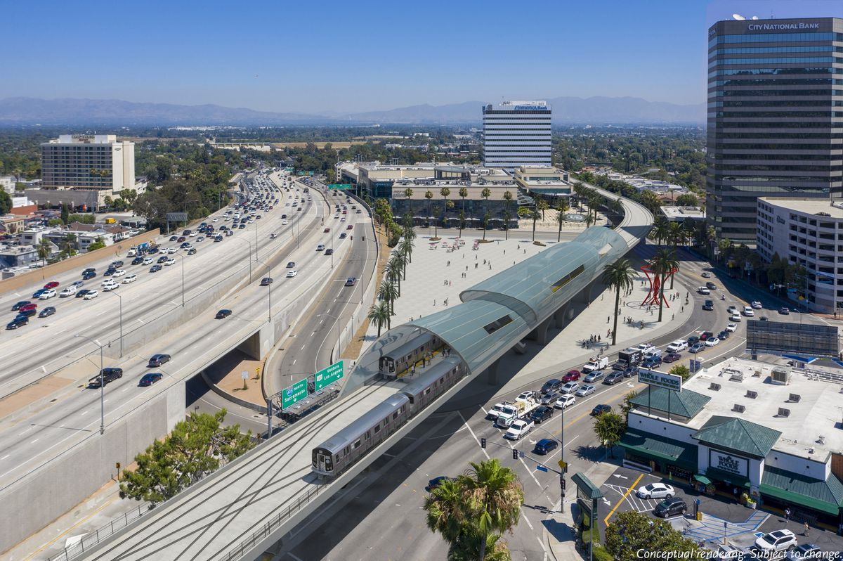 Rendering of heavy rail aerial station for Sepulveda Pass project