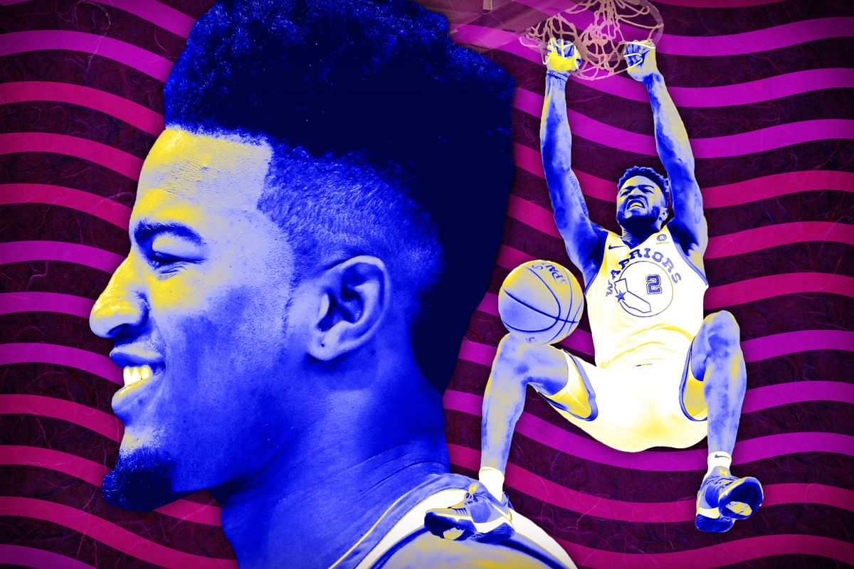 Two images of Jordan Bell, in which he's smiling and dunking