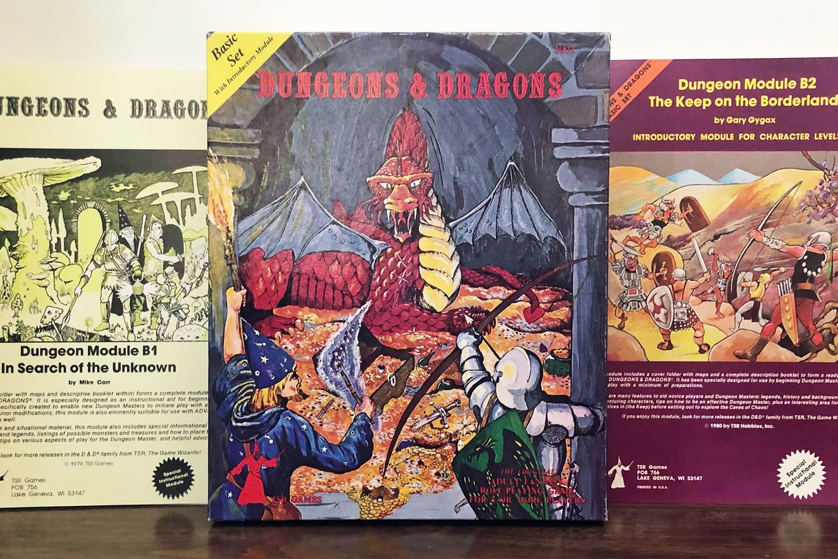 The original Module B1, the Holmes Basic Set, and The Keep on the Borderlands. From Jon Peterson's personal collection.