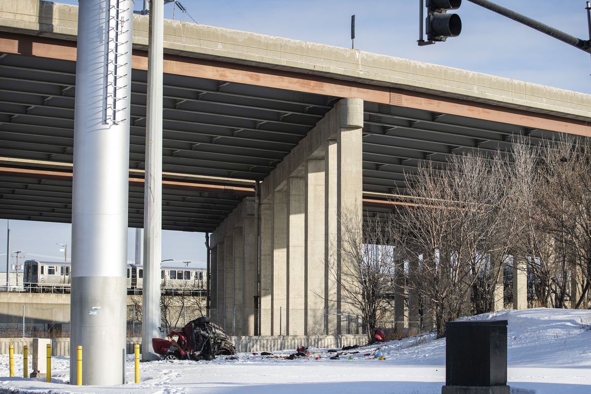 A vehicle fell from the Stevenson Expressway at Robinson Street and Archer Avenue on the Southwest Side early Friday.