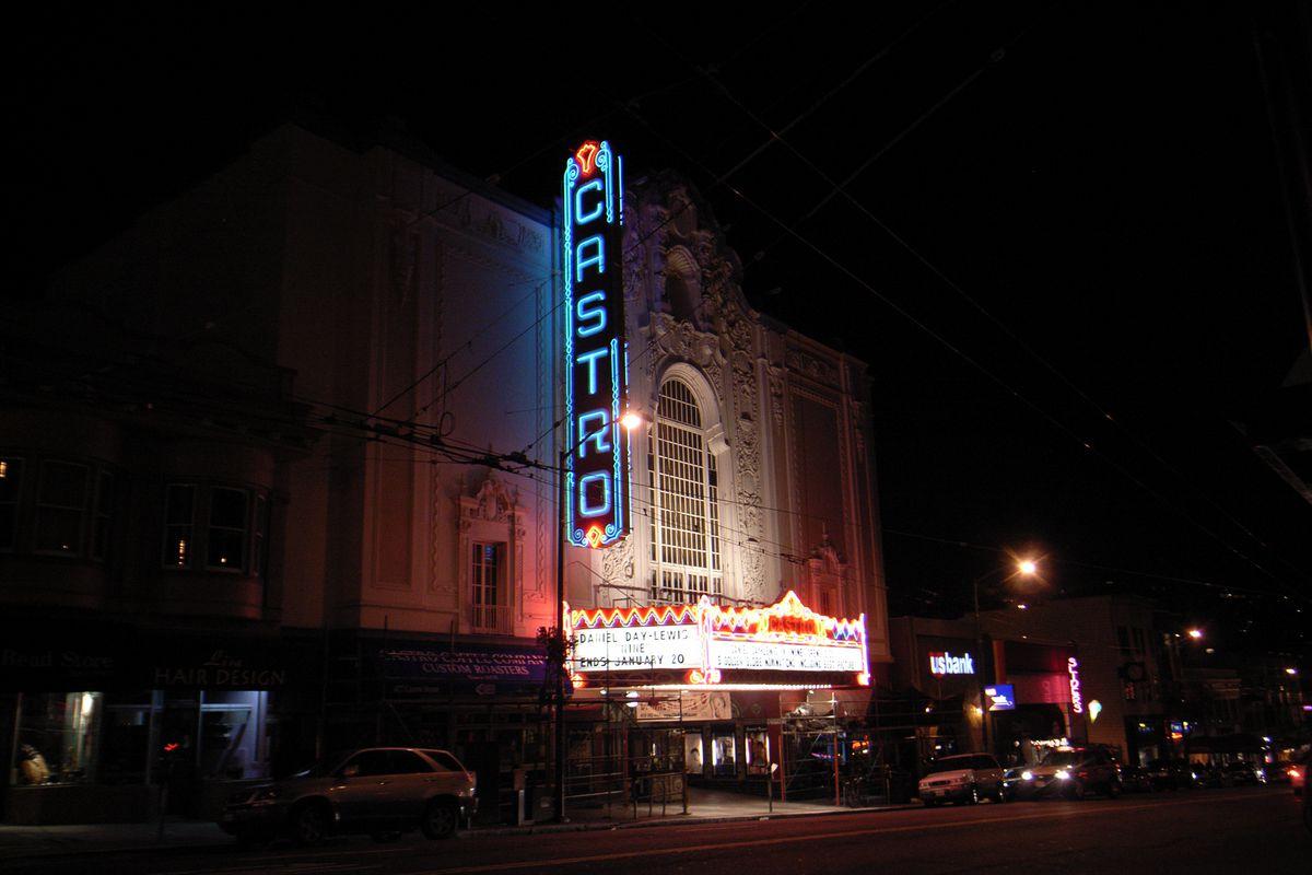 Castro Theater signage at night.