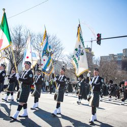The Emerald Society in the 2018 Chicago St. Patrick's Day Parade, Saturday, March 17th, 2018. | James Foster/For the Sun-Times