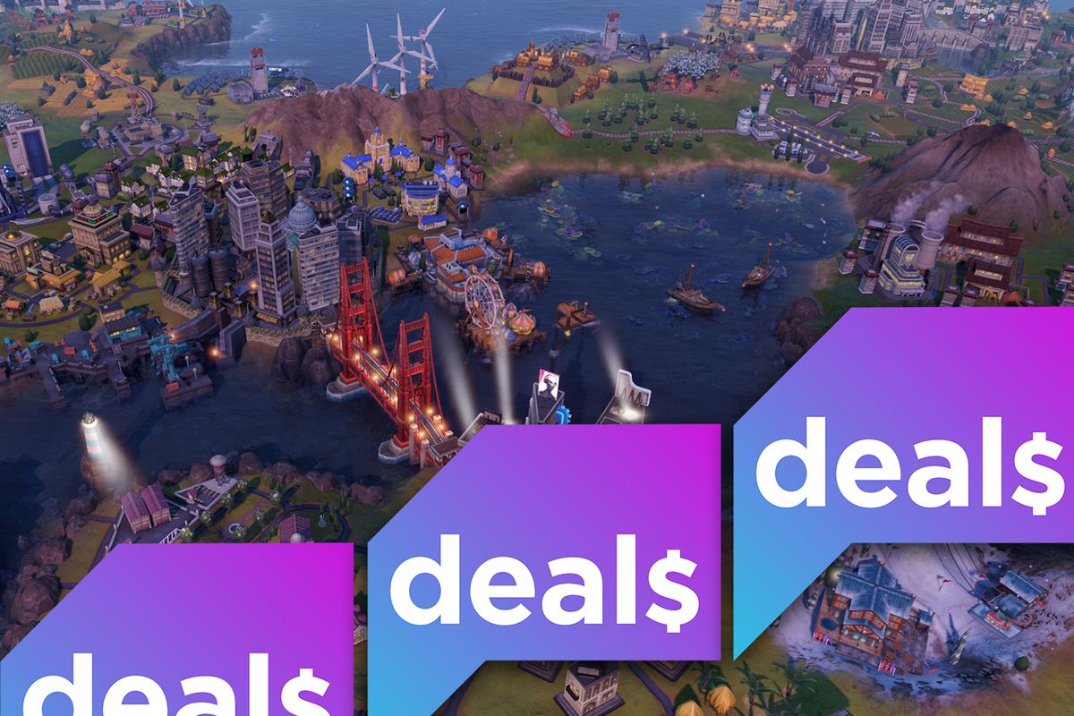 A screenshot from Sid Meier's Civilization 6 overlaid with the Polygon Deals logo