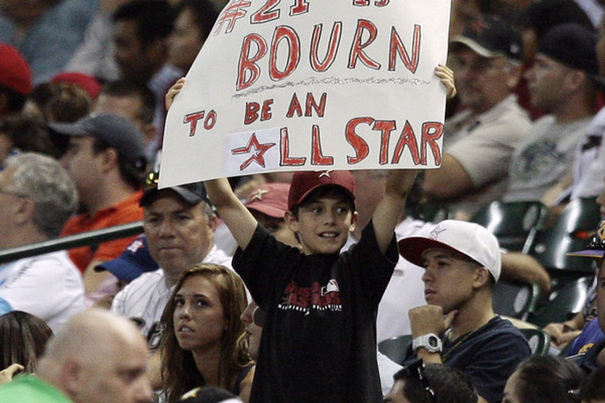 HOUSTON - JULY 09:  A young fan holds a sign showing support for Michael Bourn #21 of the Houston Astros going to the All-Star game during the game against the St. Louis Cardinals on July 9 2010 in Houston Texas.  (Photo by Bob Levey/Getty Images)