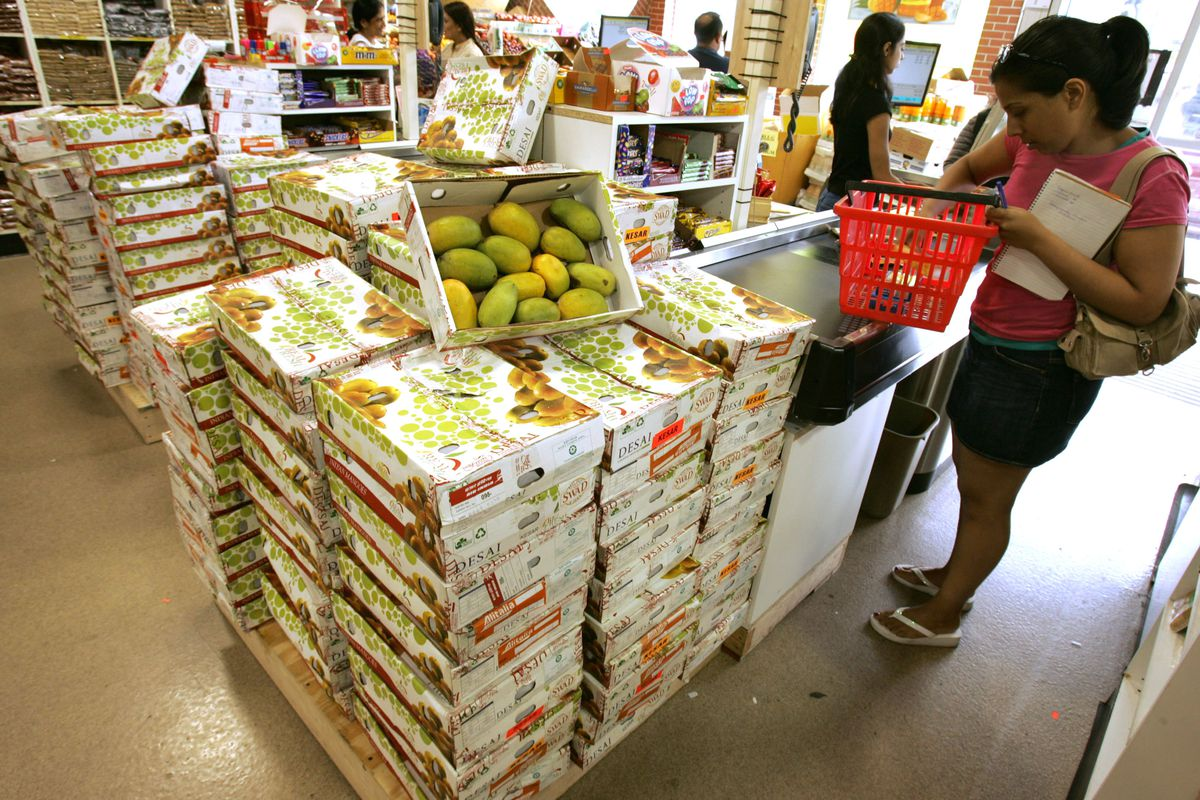 Kesar mangoes from India sit on display for sale at Patel Brothers, an Indian supermarket chain