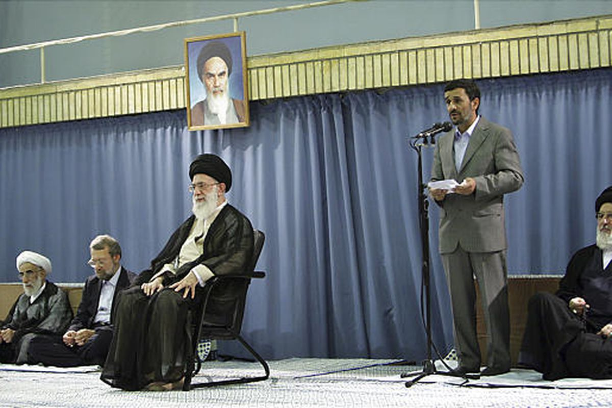 This photo released by the official website of the Iranian supreme leader's office shows Iranian President Mahmoud Ahmadinejad, second right, delivering a speech after supreme leader Ayatollah Ali Khamenei, seated at center, formally endorsed him for a se