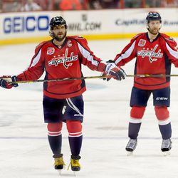 Ovechkin and Alzner Wait For Faceoff