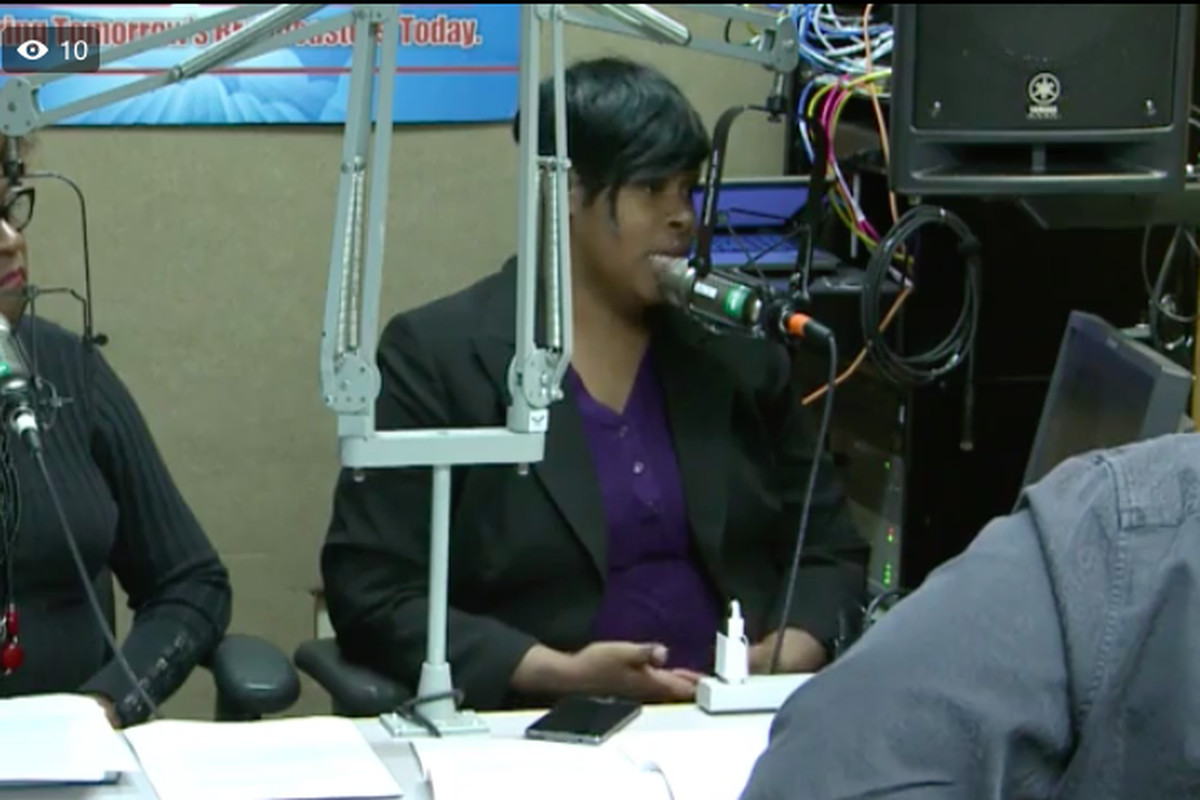 Stephanie Love, a member of the Shelby County Board of Education, rallies against a school voucher bill during a Memphis radio broadcast on Sunday.