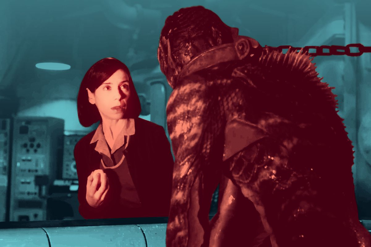 Sally Hawkins talking to the amphibian man in 'The Shape of Water'