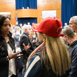 Rep. Mia Love, R-Utah, talks to people during a Utah delegation reception in the House Oversight and Government Reform Committee Room in the Rayburn Building in Washington, D.C., on Thursday, Jan. 19, 2017.