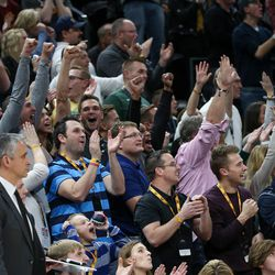 Utah Jazz fans cheer after a basket by Utah Jazz guard Donovan Mitchell (45) during the game against the Cleveland Cavaliers at Vivint Smart Home Arena in Salt Lake City on Saturday, Dec. 30, 2017.