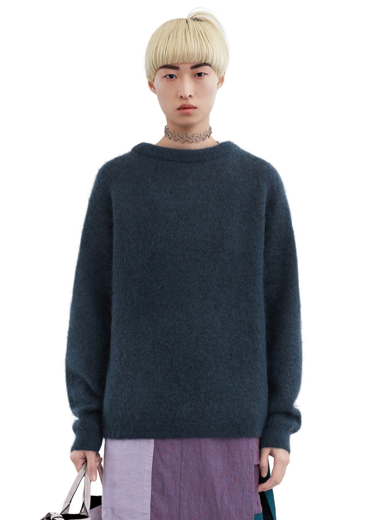 A mohair sweater in grey-blue