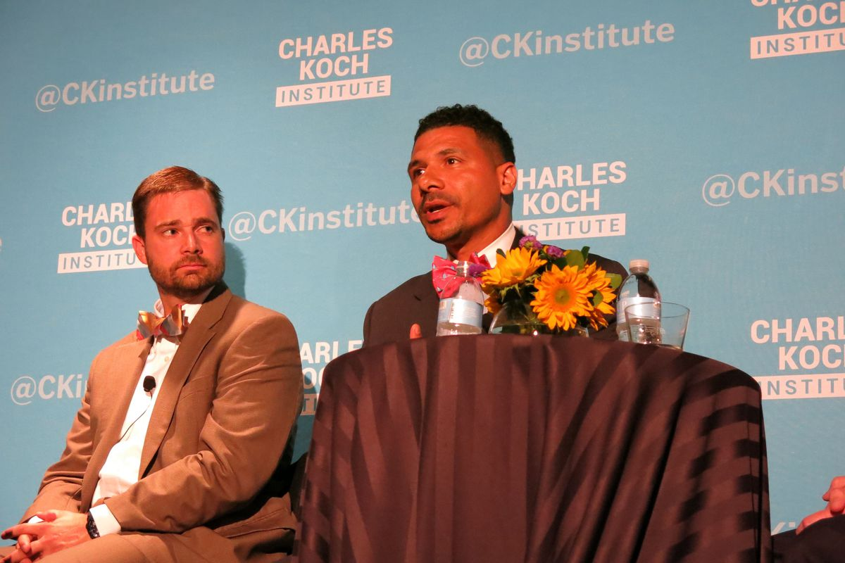 Jonathan Butcher of the Goldwater Institute and principal Steve Perry were two panelists on a forum on school choice.