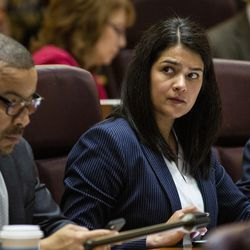 Ald. Silvana Tabares (23rd) attends her first Chicago City Council meeting at City Hall, Wednesday, May 29, 2019.