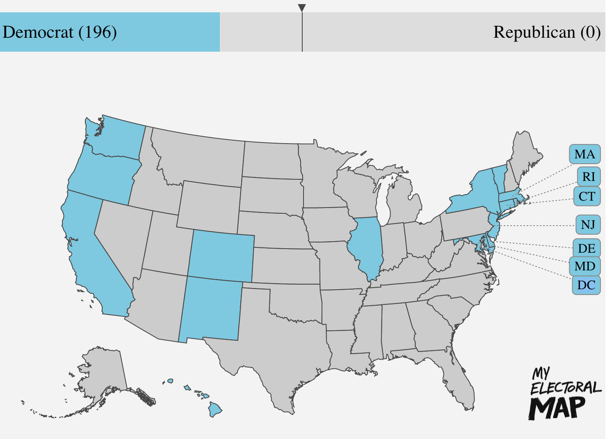 States that have adopted the National Popular Vote Interstate Compact, according to their vote in the past three presidential cycles. They add up to 196 electoral votes for Democrats, 0 for Republicans