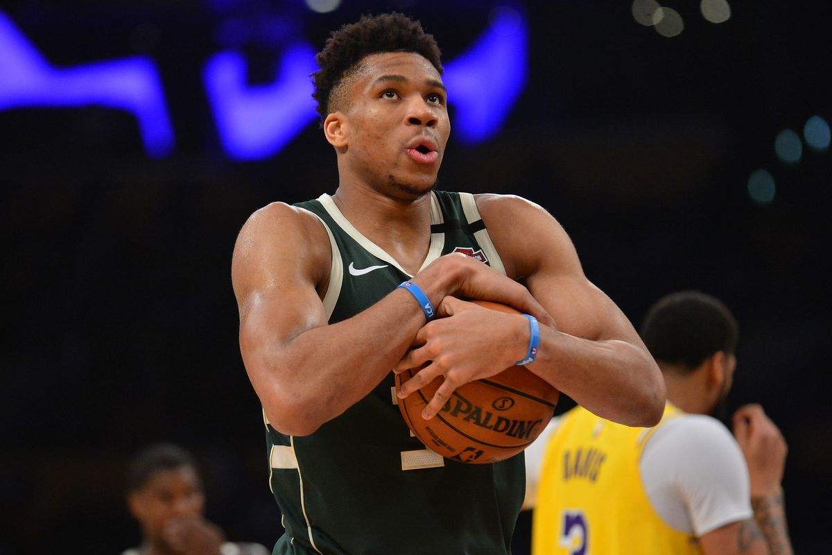 Milwaukee Bucks forward Giannis Antetokounmpo reacts against the Los Angeles Lakers during the second half at Staples Center.