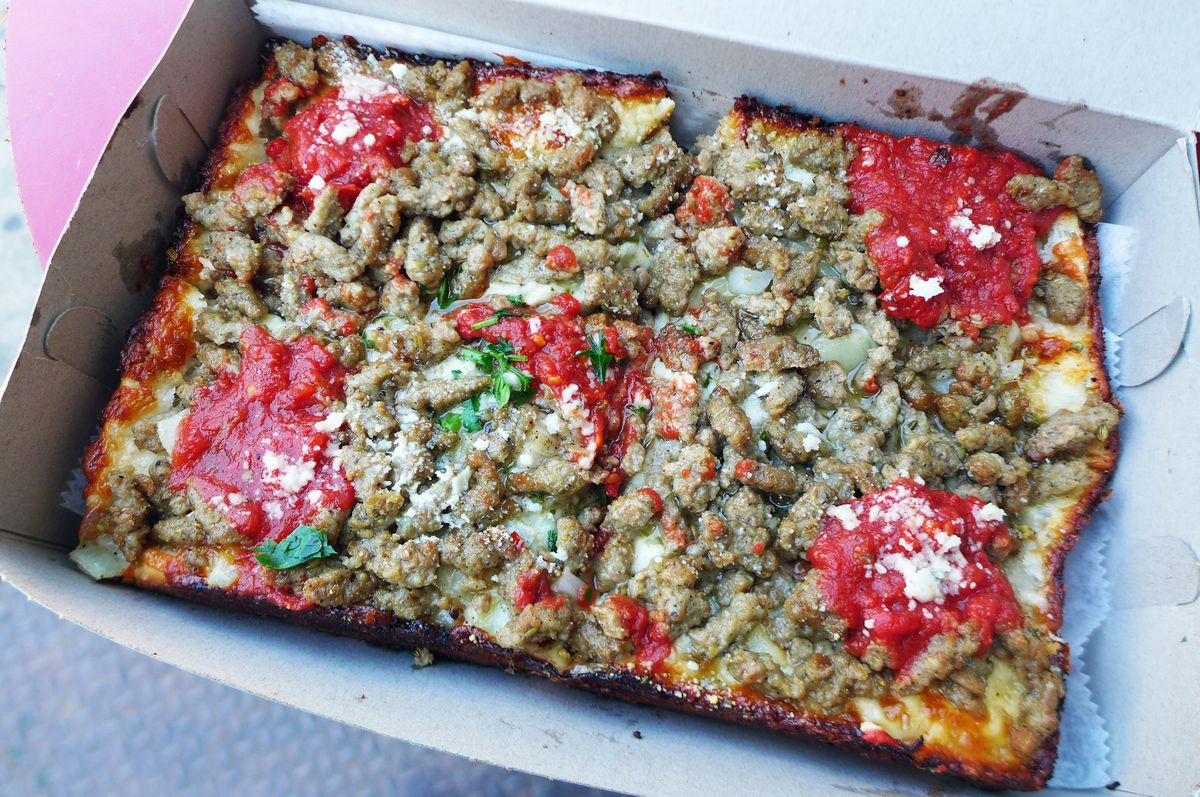 Lions & Tigers & Squares' Italian sausage pie