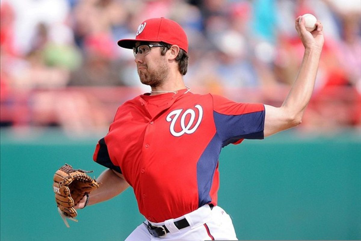 March 07, 2012; Melbourne, FL, USA;  Washington Nationals pitcher Matt Purke (50) pitches during the spring training game against the St. Louis Cardinals at Space Coast Stadium. Mandatory Credit: Brad Barr-US PRESSWIRE