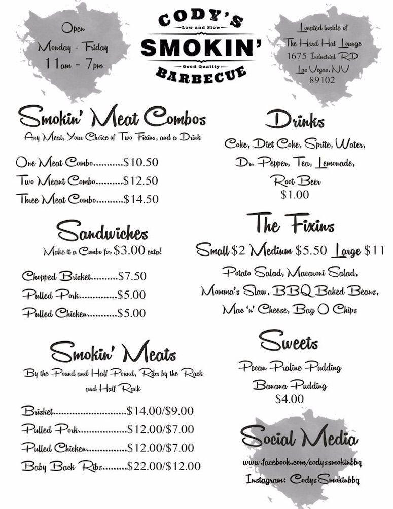 Cody's Smokin' Barbecue menu