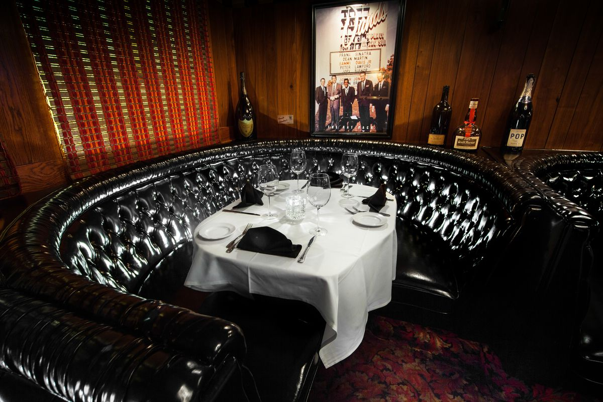 Black leather booths at the Golden Steer