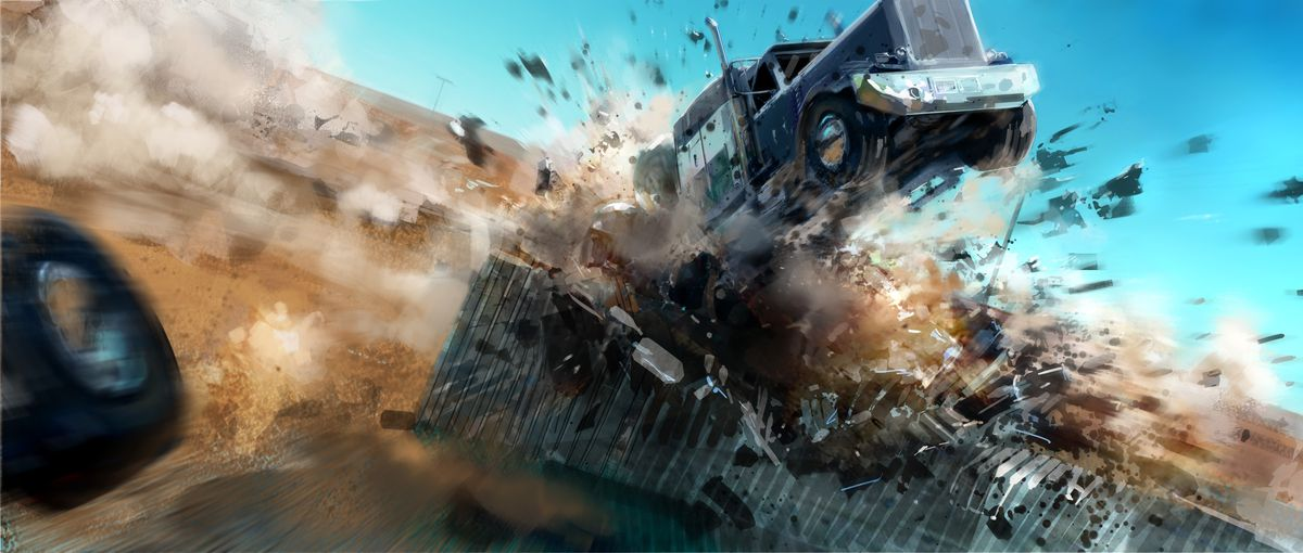A big rig truck crashes while flying in the air
