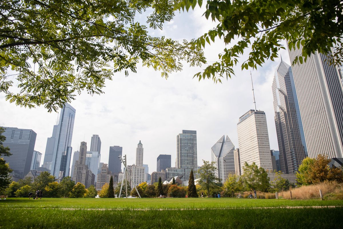 The Chicago skyline is seen from Maggie Daley Park in the Loop.
