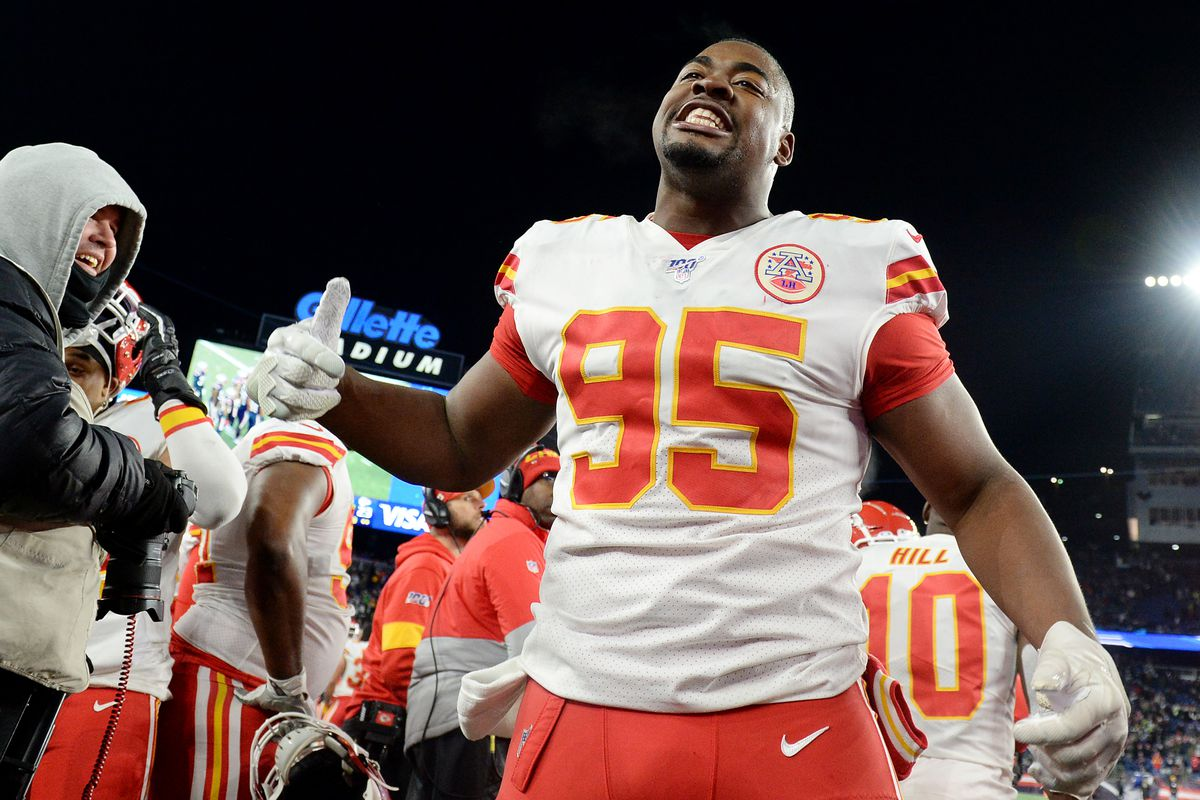 Chris Jones of the Kansas City Chiefs celebrates at the end of the game against the New England Patriots at Gillette Stadium on December 08, 2019 in Foxborough, Massachusetts.