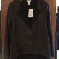 Doo Ri Leather Blazer with Draped Back in Black<br />This stunning black leather jacket by Doo.Ri is unlike anything you've ever seen! Buttery soft with epaulets at the shoulders and a draped jersey back.<br />Originally $1,395, with 60% off $558