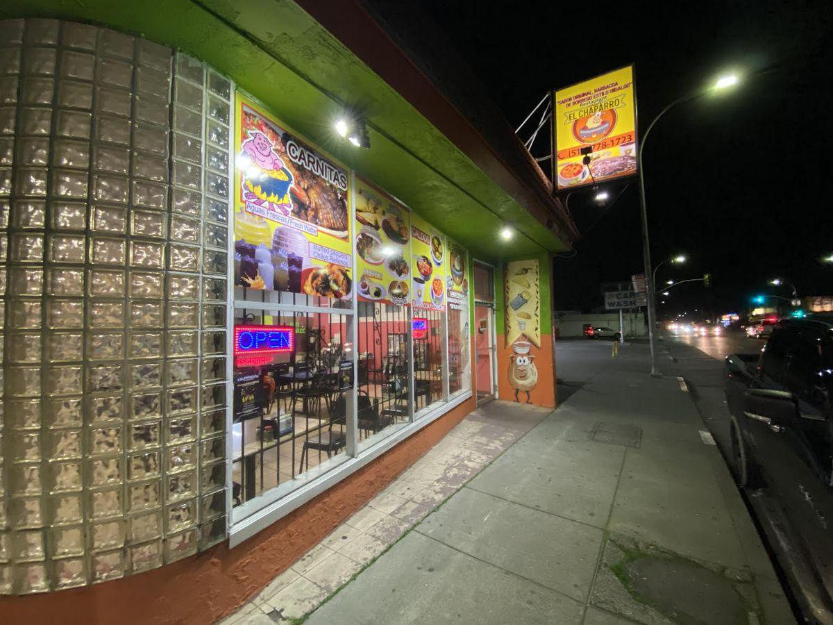 Exterior of El Chaparro at night