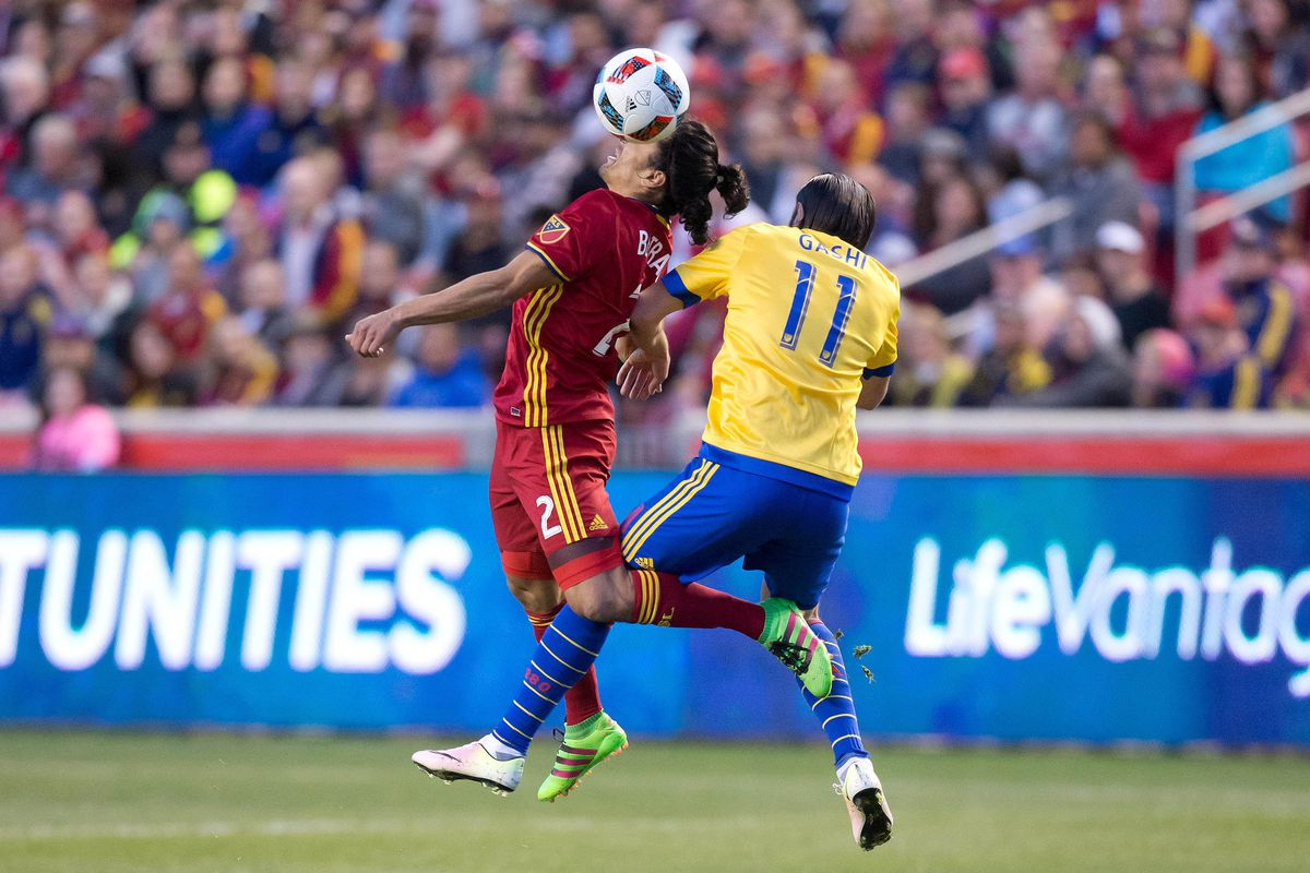 Shkelzen Gashi challenges Tony Beltran for the ball in the first installment of the 2016 Rocky Mountain Cup.