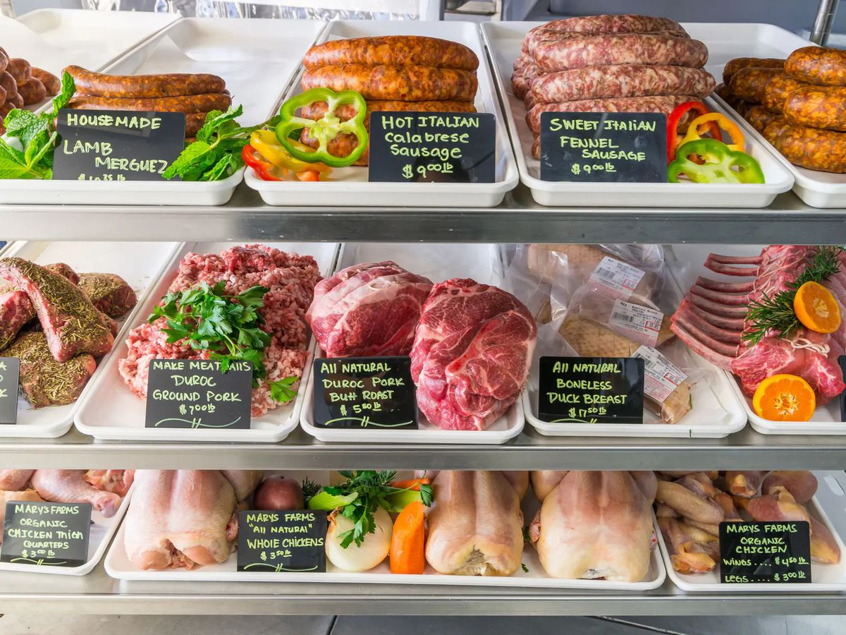 Three rows of meats, sausages, seafood, and more