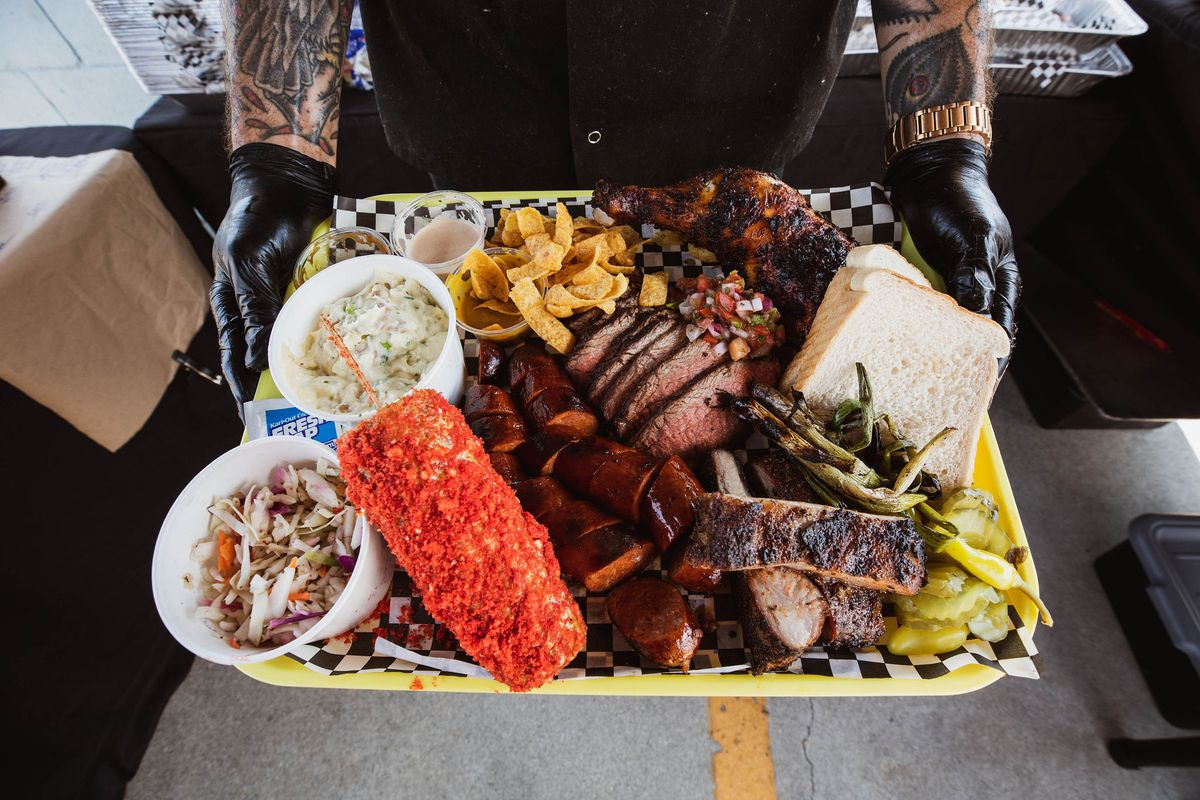 A tray of food from Gold Land BBQ in Los Angeles, California.