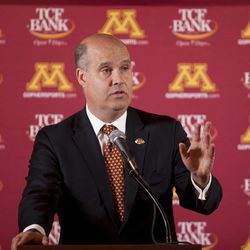 Norwood Teague speaks to reporters at a news conference Monday April 23, 2012 in the Gopher football locker room. in TCF Stadium in Minneapolis, Minn. Teague was introduced as the next director of athletics at the University of Minnesota.  He previously held the same position at Virginia Commonwealth.