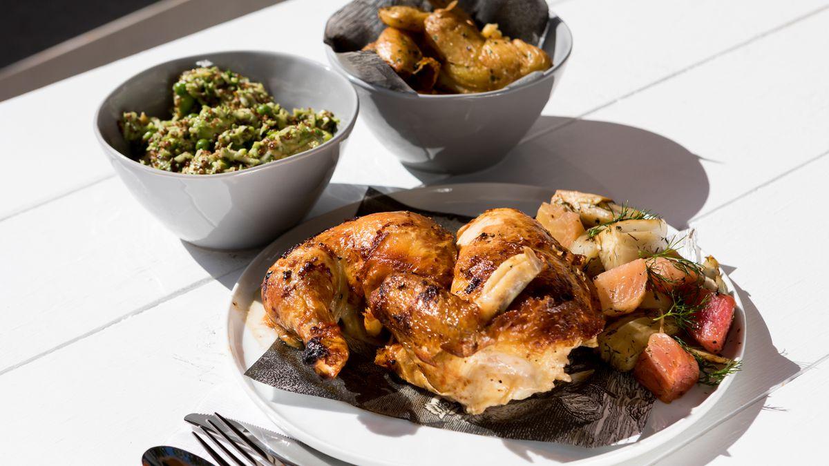 Rotisserie chicken dinner with sides from Village Rotisserie